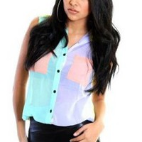 Pastel Multi Color Colorblock Blouse with Button Up Front