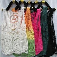 Lace Floral Sleeveless Crochet Knit Vintage Women Vest Tank Top Shirt Beige New