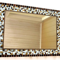 Brown and White Mosaic Mirror, CUSTOM
