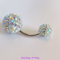 Belly button ring, belly ring, bellybutton ring with Clear AB large and small double crystal ball