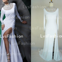 Long Sleeves with Beading and Crystal Fashion by LvsFashion