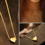 Cute Gold Vermeil Heart Pendant Simple Heart Necklace