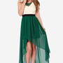 Heart of Class Dark Green and Cream High-Low Dress