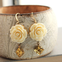 Rose Earrings Light Yellow Dangle Cream Rose by apocketofposies