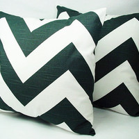 Pair of Chevron Decorative Throw Pillow Covers Black and White - 16 x 16 inches Cushion Cover Accent Pillow