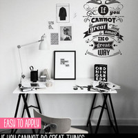 Vintage Style Quote Wall Decal, Vinyl Wall Lettering, If You Cannot Do Great Things - Napoleon Hill - QK002