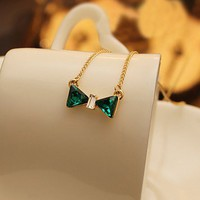 Green Rhinestone Bowtie Necklace