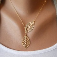 ladylove — simple fashion leaf necklace