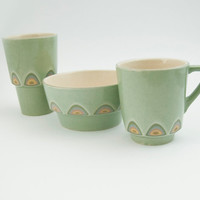 Ceramic stoneware breakfast set cup mug bowl - unique handmade decorative textured kitchen pottery modern - tea coffee juice cereal - green