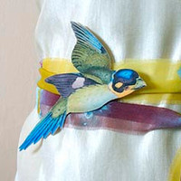 Wedding sash belt for bridal dress with blue green bird. Whimsical sash for spring summer coctail or garden wedding dress.