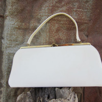60s Winter White Vinyl Theodor of California Purse // Vintage Faux Leather Handbag
