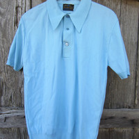 60s/70s Sky Blue Golf Shirt by Ban-Lon, Men&#x27;s M-L // Vintage Short Sleeve Summer Shirt // Nylon Polo Shirt