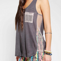 Silence &amp; Noise Gridded Mesh Tank Top