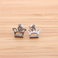 girlsluv.it - TIARA with crystals stud earrings, 2 colors