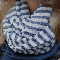Eternity Scarf, Infinity Scarf, Tube Scarf, Nautical, Navy Blue Stripes, Navy Blue, White