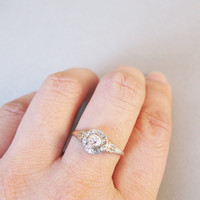 Vintage Art Deco Style Diamonds Engagement Ring - 14K White and Yellow Gold