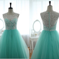 Lace Tulle Wedding Dress Prom Ball Gown Blue Tulle by wonderxue