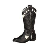 T.U.K. Shoes A8192L - $75.00 - Black and Cream Heart Tall Cowboy Boot
