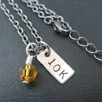 10K RACE MONTH Crystal Charm - 10k Running Necklace on 18 inch gunmetal chain - Choose Your Race Month Crystal - Running Jewelry