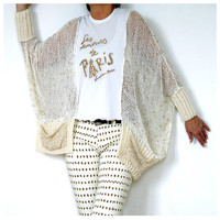 Gorgeous Stormy Beige Sweater with Lace Detailing.