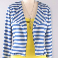 Classy Royal Grey Striped Open Short Blazer Jacket Coat USA Made Fashion Trend