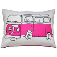 Campervan Cushion in Pink from Helena Carrington | Made By Helena Carrington | £42.00 | Bouf
