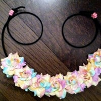 Pastel Electric Rose Flower Headband, Flower Crown, Flower Halo, Festival Wear, EDC, Neon, Coachella, Ezoo,Ultra Music Festival, Rave