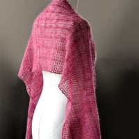 Knitted silk and mohair lace shawl, stole wrap in colour red, pink, cyclamen, purple hand dyed yarn