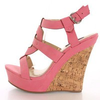Coral Faux Leather Wedges