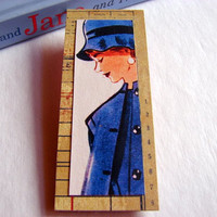 Sixties Fashion Model Brooch - Lunch with the Girls Blue Coat and Hat - Large Paper and Chipboard Decoupage Pin Badge - Vintage Retro