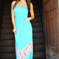 Chevron Forever Maxi Dress: Teal/Ivory | Hope&#x27;s