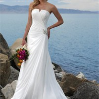 Fresh Plain Strapless Natural Waist A-line Small Train Wedding Dress WD0030