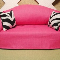 Tissue Box Holder Hot Pink Sofa Shape with Zebra Accents