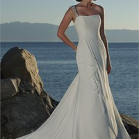 Unique Handmade Flower One-shoulder Natural Waist Chiffon Wedding Dress WD0046