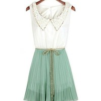 Sleeveless Chiffon Dress with Petal Lace Lapel and Golden Waistband