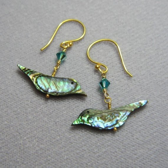 Shiny bird earrings  paua shell and by WinterberryJewelry on Etsy