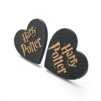 Harry Potter Earrings, Laser Cut Medium Size Golden Heart Stud, Engraved Harry Potter