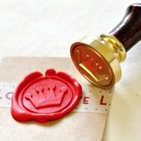 Cute Crown Gold Plated Wax Seal Stamp &amp; Sealing Wax