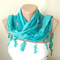 NEW 2012 Spring Model Turquoise  Cotton Scarf with Pine
