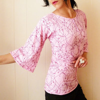 Lady's Back in Town - iheartfink Handmade Womens Artistic Hand Printed Kimono Sleeve Soft Pink Blouse Top