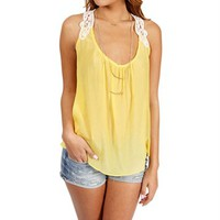 Yellow Crochet Sleeveless Top
