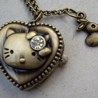 a cute kitty cat pocket watch necklacewith her by qizhouhuang
