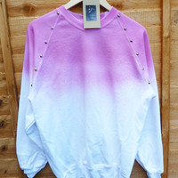 White with Pink Dip Tie Dye Studded Sweater Shirt Summmer Fashion Jumper Studded Shoulders Oversize Vintage