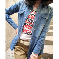 Girl Women Retro Long Sleeve Cool Blue Jean Denim Vintage Shirt Tops Blouse Hot