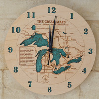 Nautical Wooden Lake Art Clock by LaserLakeArt on Etsy