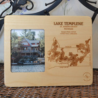 Custom Wooden Engraved Lake Art Photo Frame by LaserLakeArt