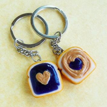 polymer clay hearts pb and j peanut butter and grape jelly best friend ...
