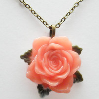 Mothers Day Necklace Pendant Chain, Flower Necklace, Rose Necklace Peach Flower