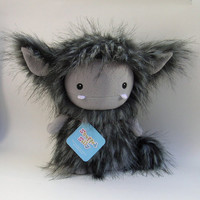 Furry Stuffed Toy Monster Art Doll  Charcoal Grey by stuffedsilly