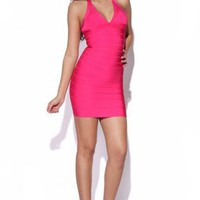 Pink Halterneck Bandage Dress